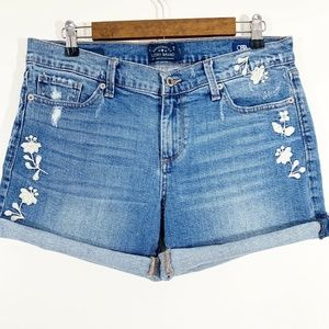 Lucky Brand Embroidered Floral Roll Up Jean Shorts